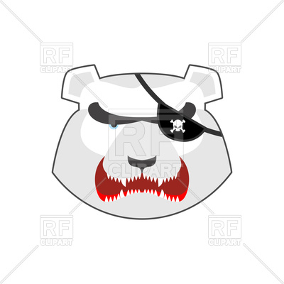400x400 Angry Bear Head With Eye Patch, Aggressive Grizzly Vector Image