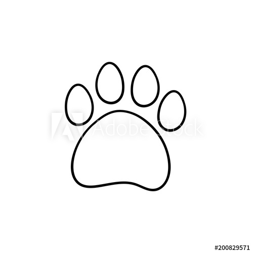 500x500 Paw Print Hand Drawn Outline Doodle Icon. Bear Paw Print Vector