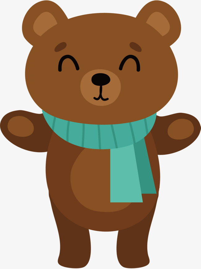 650x868 Brown Bear Vector, Hand, Blue Scarf, Wave Png And Vector For Free