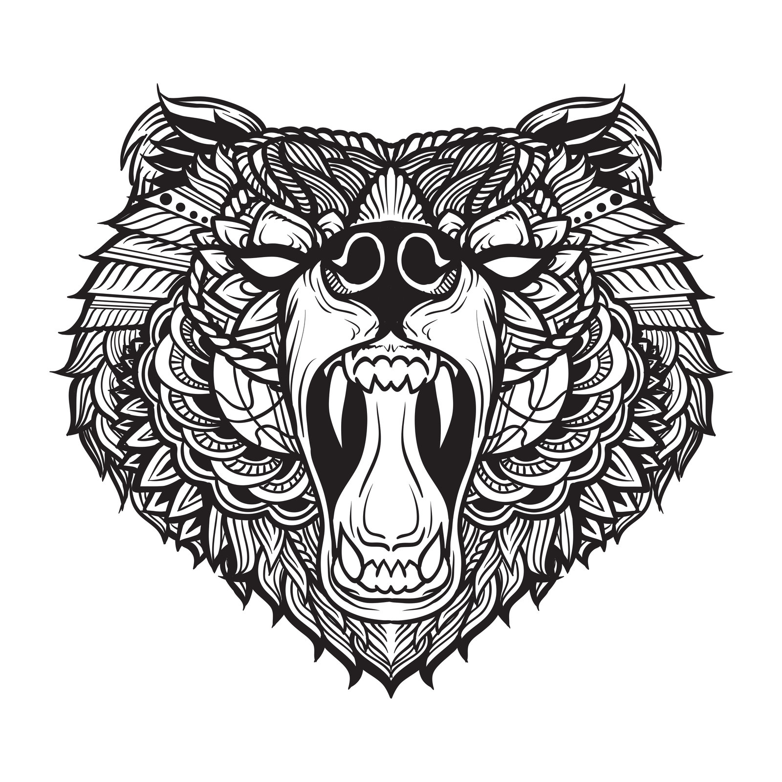 1600x1600 Collection Of Black Bear Head Drawing High Quality, Free