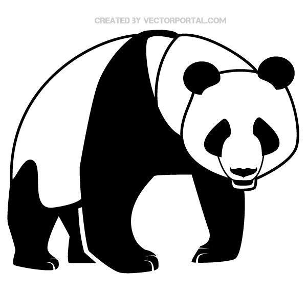 600x575 Panda Bear Silhouette Vector Art 123freevectors