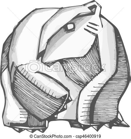 445x470 Abstract Polar Bear Vector Illustration. Hand Drawn Vector