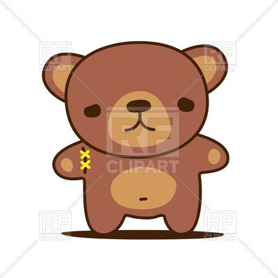 400x400 Sad Kawaii Teddy Bear With Sewn Paw Vector Image Vector Artwork
