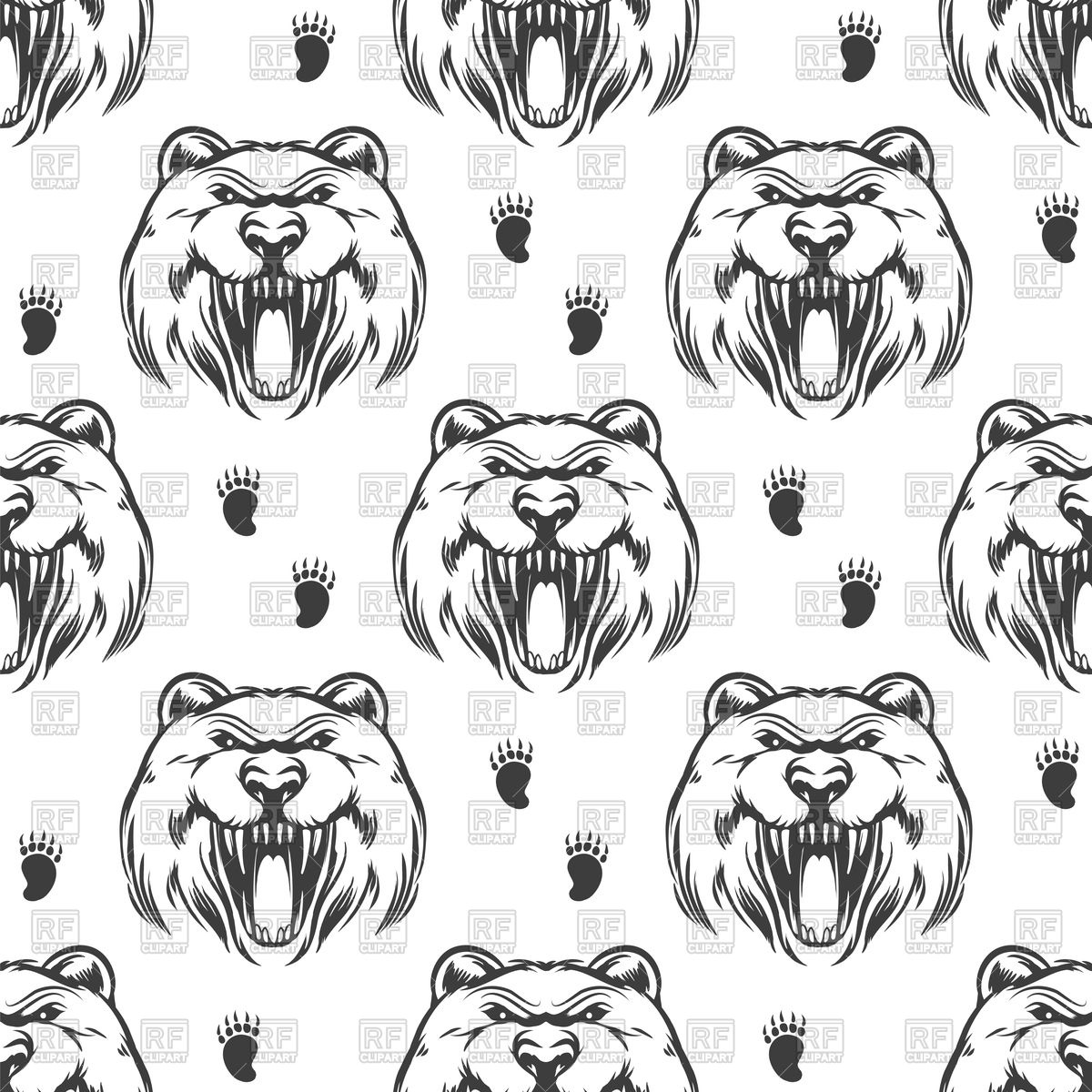 1200x1200 Seamless Pattern With Hand Drawn Grizzly Bear Vector Image