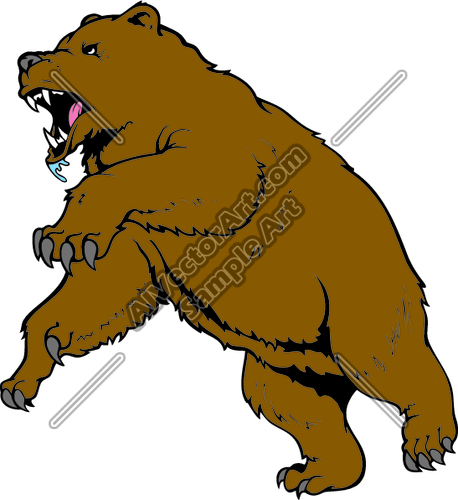 458x500 Brown Bear Attacking Clipart And Vectorart Animals