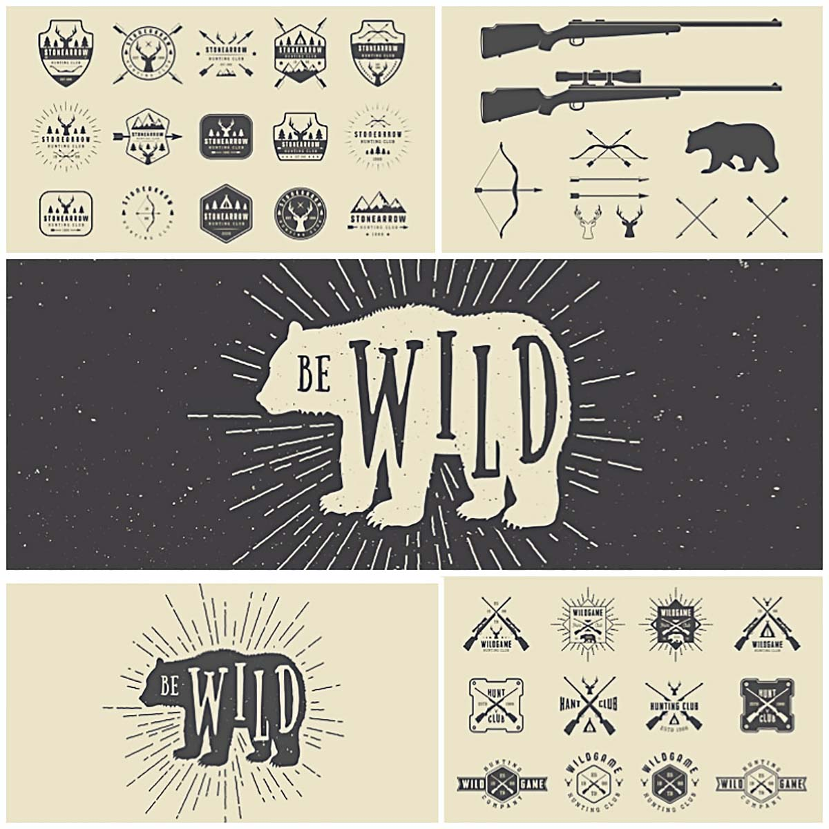 1200x1200 Vintage Hunting Logos With Bear Vector Bundle Free Download