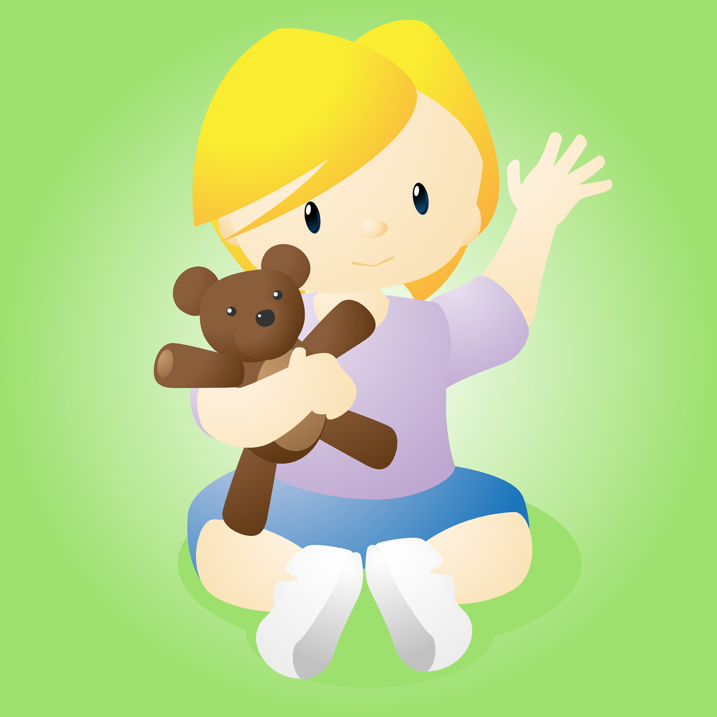 1400x1400 Happy Child With Bear Vector Illustration Of A Happy Little Girl