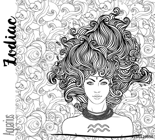 500x450 Zodiac Illustration Of Aquarius Zodiac Sign As A Beautiful Girl