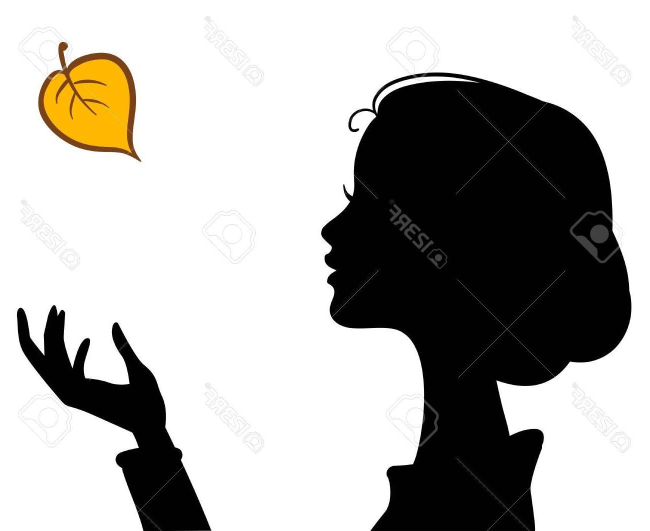 1300x1062 Beauty Girl Silhouette With Leaf Beautiful Woman Vector Portrait