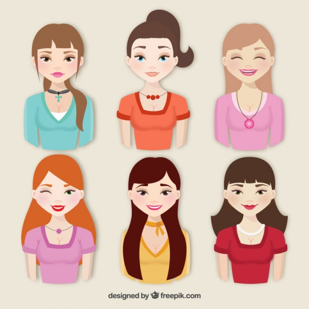 626x626 Collection Of Beautiful Women Vector Free Download