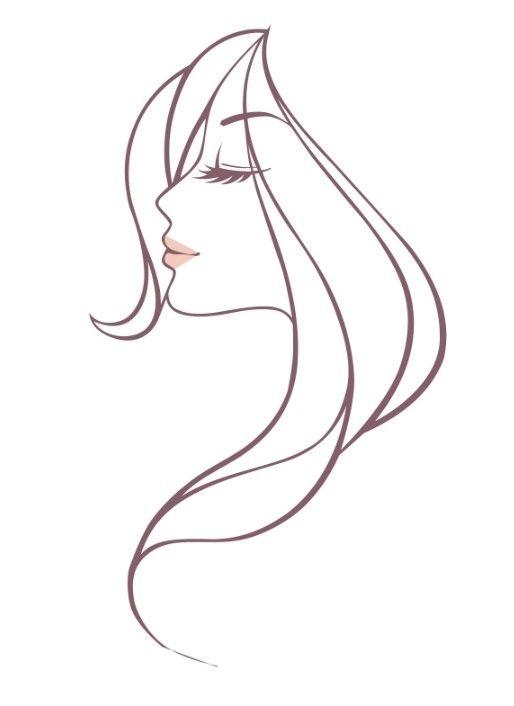 514x706 Free Beautiful Woman Head Vector Illustration In 2018 Stencil