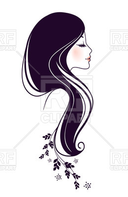 260x400 Outline Of Beautiful Woman Profile Vector Image Vector Artwork