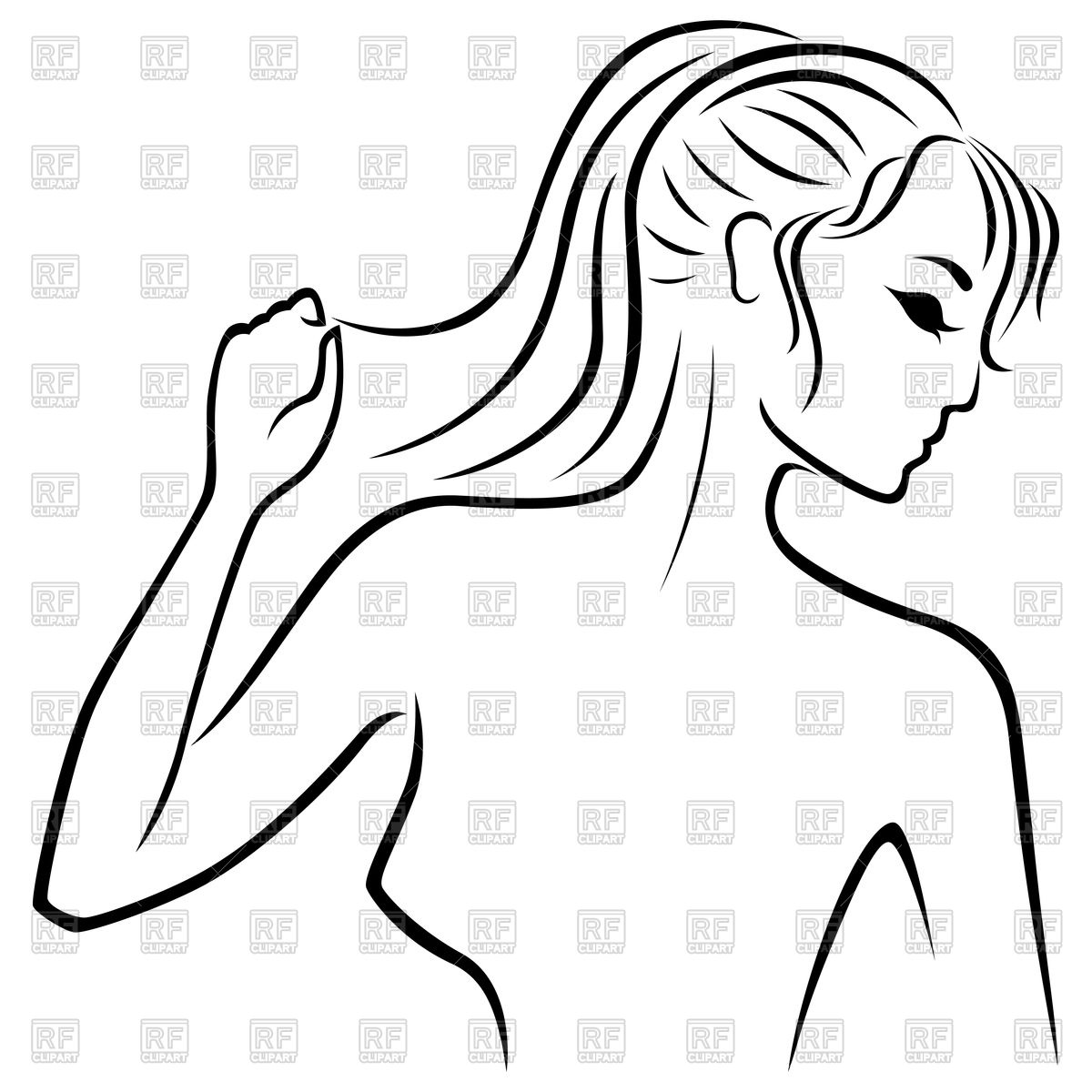 1200x1200 Outline Of Young Beautiful Woman Profile Vector Image Vector