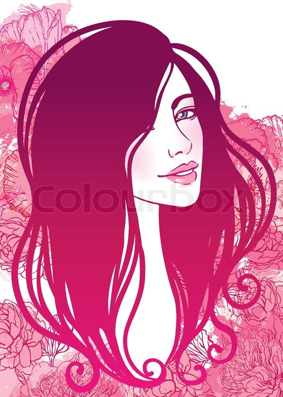 571x800 Vector Illustration Of Beautiful Woman With Floral Background