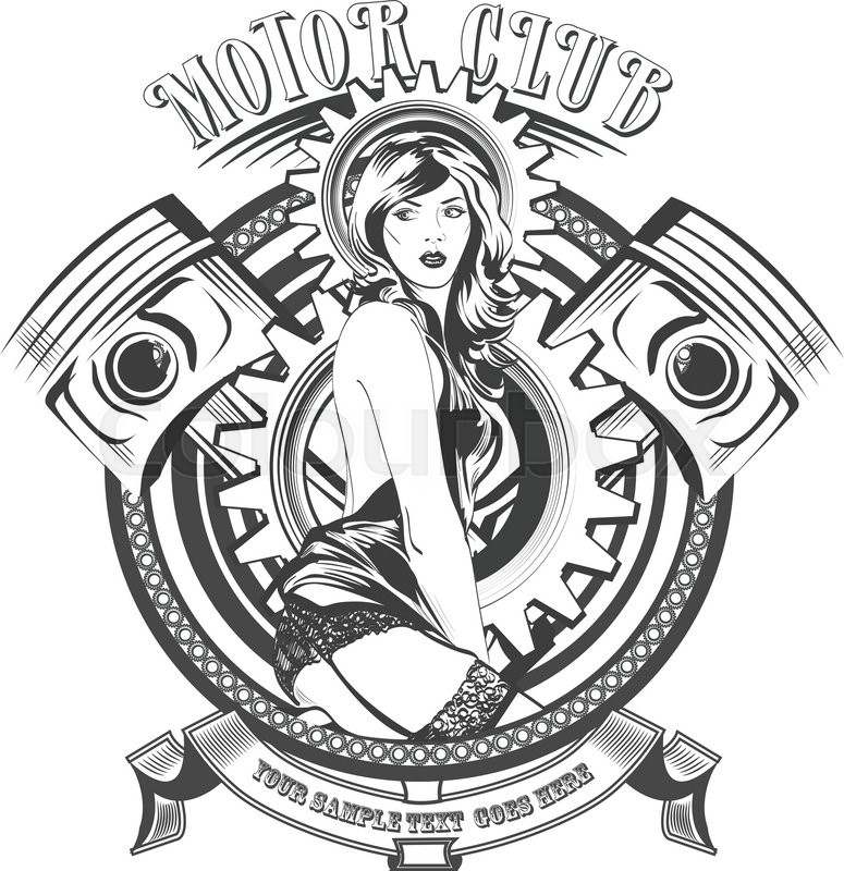 775x800 Vintage Motor Club Signs And Label With A Beautiful Woman. Vector