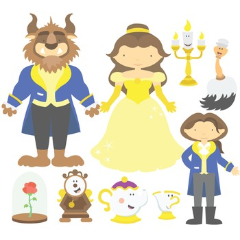 350x350 Fairy Tale Beauty And The Beast Digital Clipart Amp Vector Set Tpt