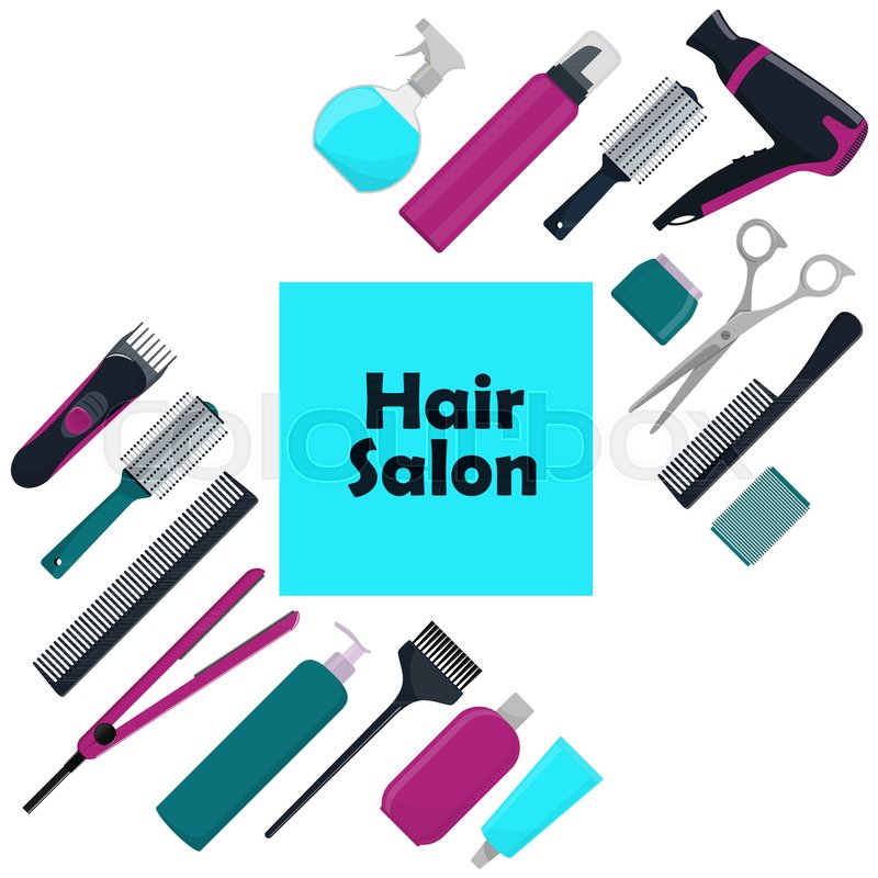 800x800 Hair Salon Concept. Tools And Cosmetic Products For Hair Care