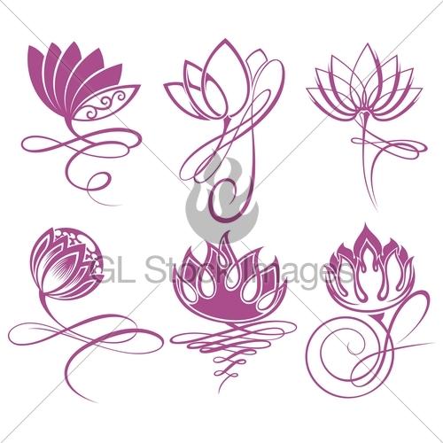 500x500 Beauty Vector Lotus Flowers Design Logo Template Icon Gl Stock