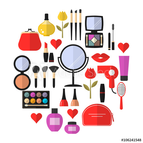 500x500 Cosmetic, Makeup And Beauty Vector Flat Icons Set . Cosmetic