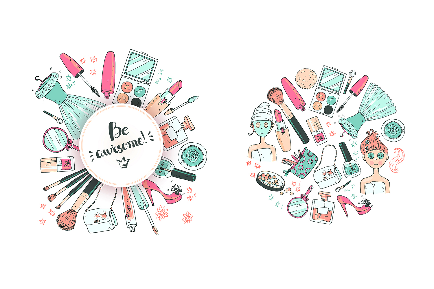1500x1000 Doodle Cosmetics, Fashion, Spa And Beauty. Vector.