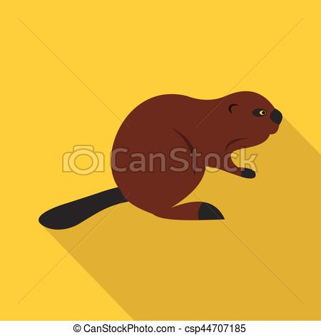450x470 North American Beaver Icon, Flat Style. North American Beaver Icon