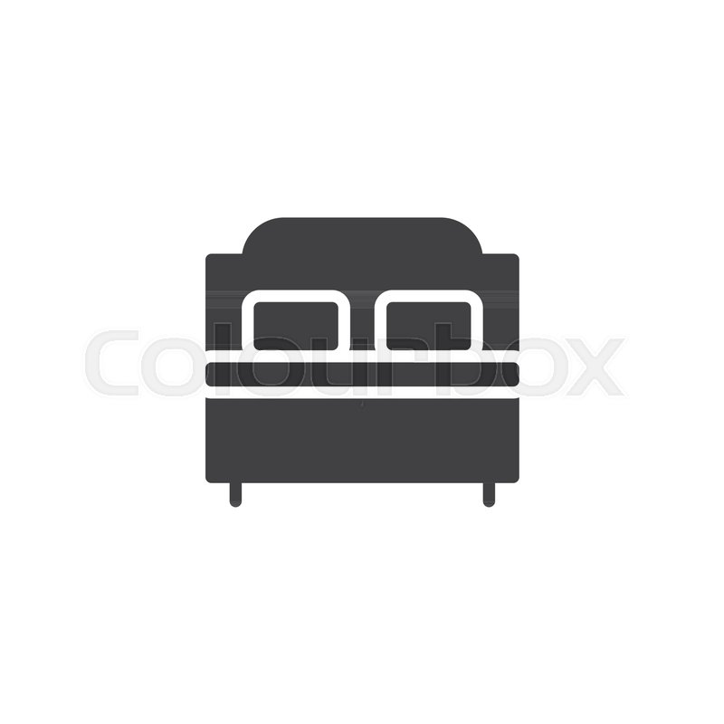 800x800 Double Bed Vector Icon. Filled Flat Sign For Mobile Concept And
