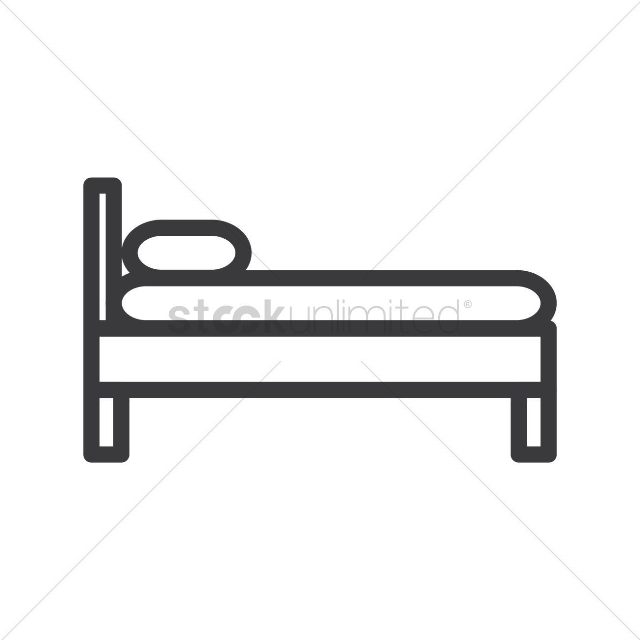 1300x1300 Side View Of Bed Vector Image