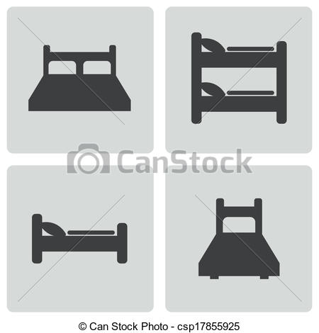 450x470 Vector Black Bed Icons Set On White Background.