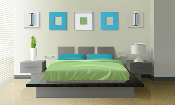 600x361 Bedroom Interior Design Vector 02 Free Download