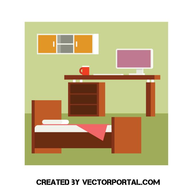 660x660 Bedroom Vector Image