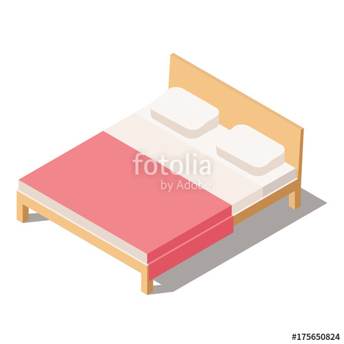 500x500 Big Bed For Two Or One Person. Furniture For The Bedroom. Vector
