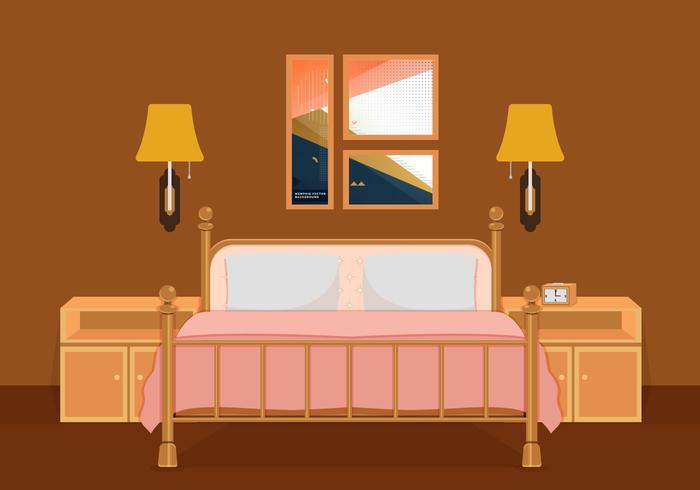700x490 Interior Of Bedroom Vector Illustration