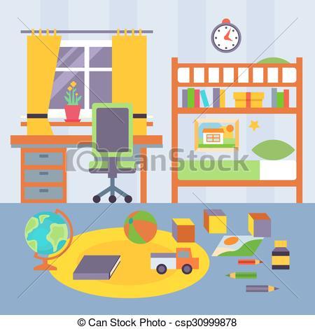 450x470 Kid Bedroom. Vector Illustration . Some Kid Bedroom. Bright Vector