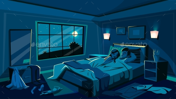 590x332 Lovers Sleep In Bedroom Vector Illustration By Vectorpouch