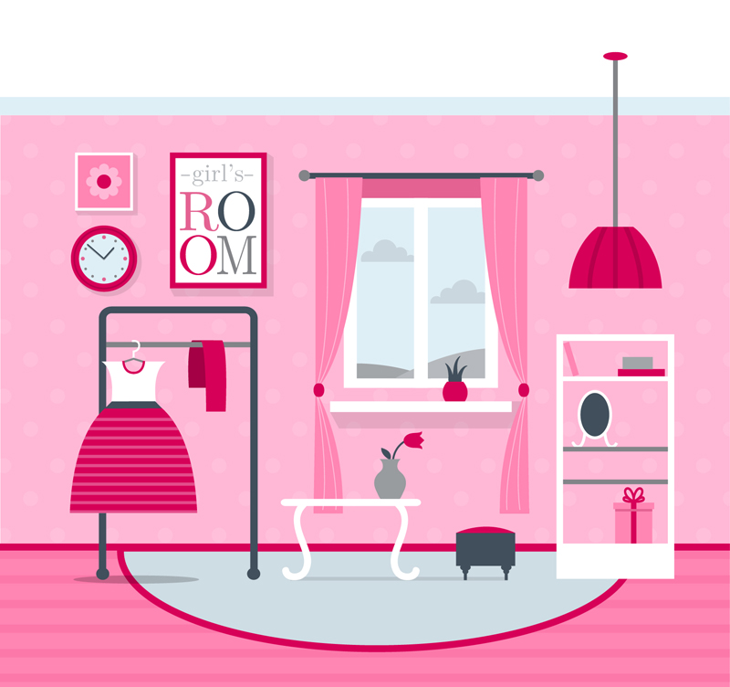 800x752 Pink Bedroom Design Vector