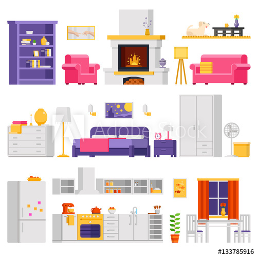 500x500 Vector Cozy Interior Set Of Furniture And Room Elements In Flat