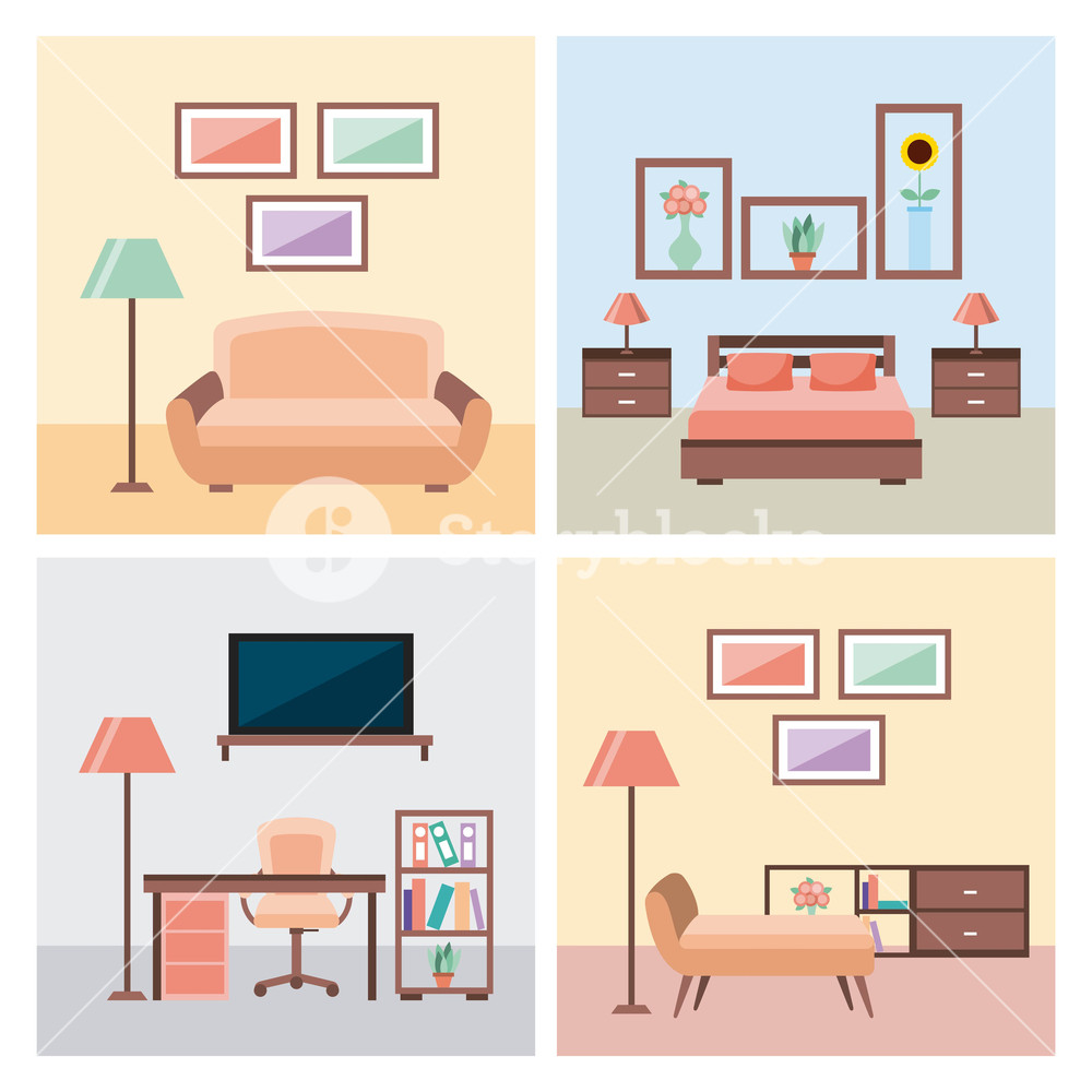1000x1000 Set Of Interior House Room With Furniture Icons Living Bedroom