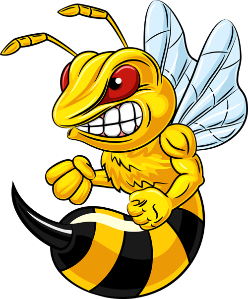 500x603 Cartoon Angry Bee Vector Illustration 03 Free Download