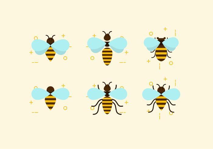 700x490 Flat Six Bees Vectors