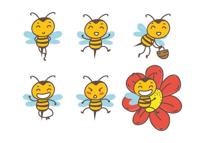 700x490 Hand Drawn Cute Bee Vectors