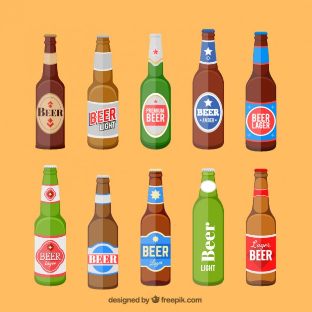 626x626 Beer Bottles Set With Label Vector Free Download