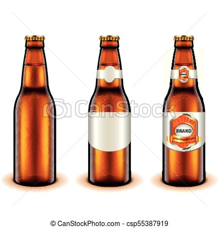 450x470 Light Beer Bottle Design 3d Realistic Vector. Light Beer Bottle