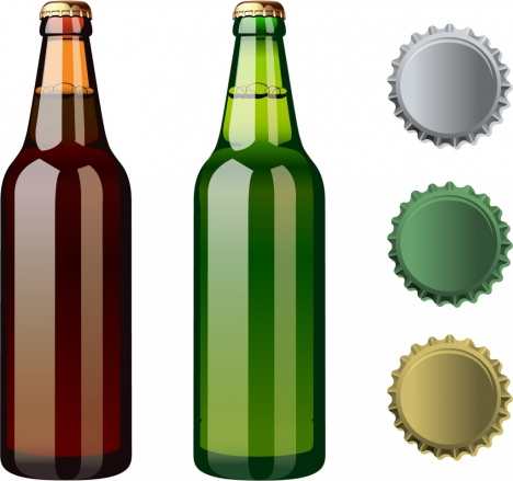 468x439 Beer Bottles Lid Icons Shiny Colored Design Vectors Stock In