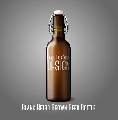 382x390 Blank Retro Brown Beer Bottle Vector