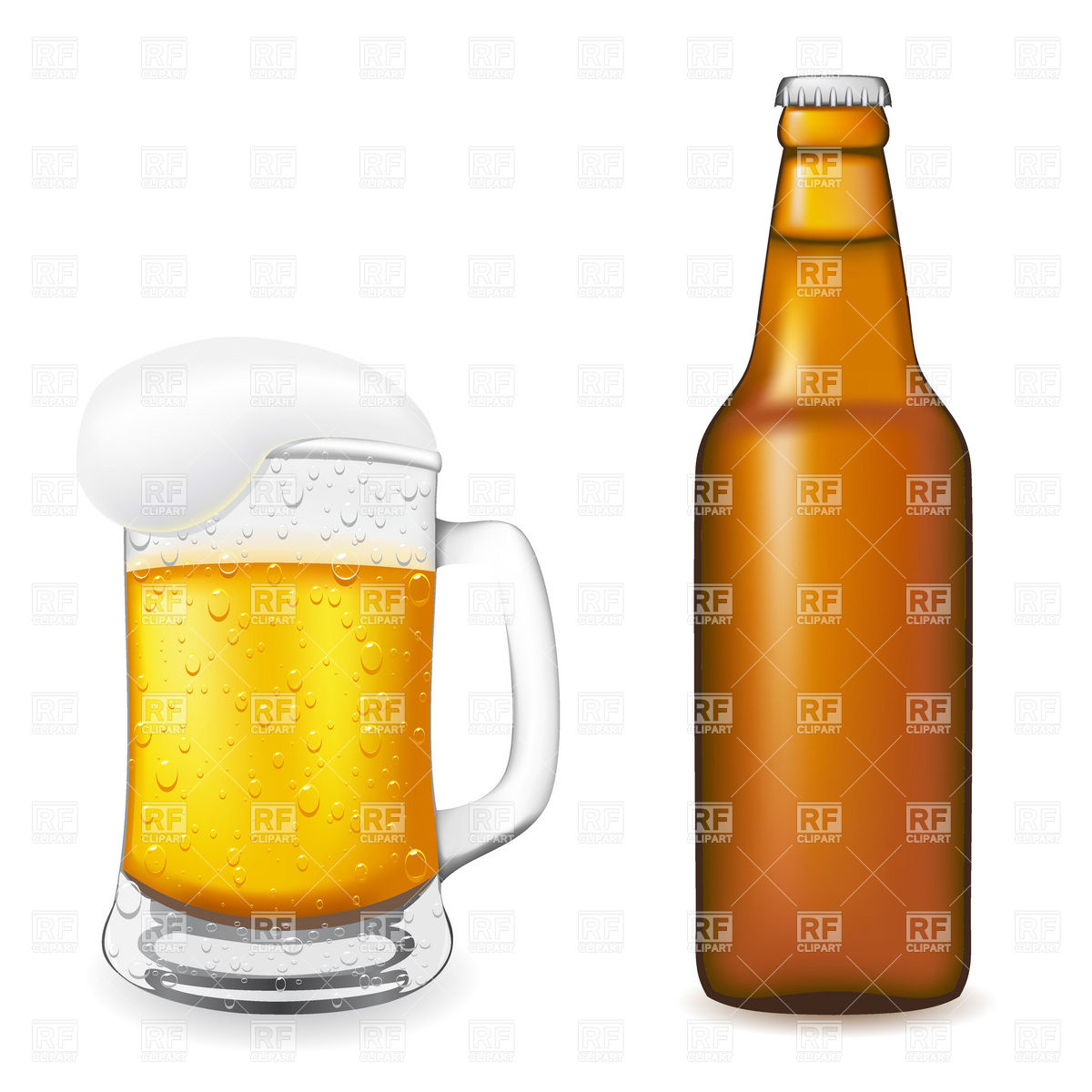 1200x1200 Brown Beer Bottle And Beer Glass With Handle And Foam Vector Image