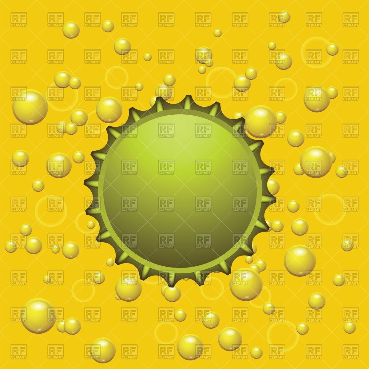 1200x1200 Beer Cap On Yellow Background With Bubbles Vector Image Vector