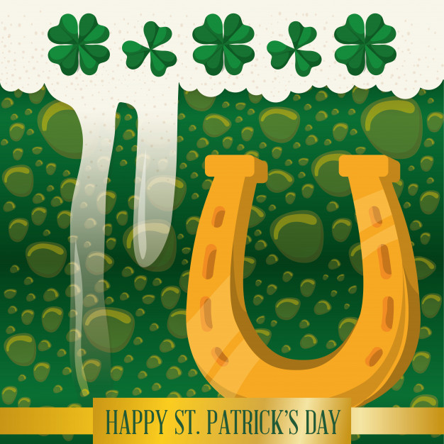 626x626 Happy St Patricks Day Horseshoe Green Beer Bubbles Vector
