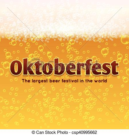 450x470 Oktoberfest Beer Festival Vector Poster, Bubbles And Foam