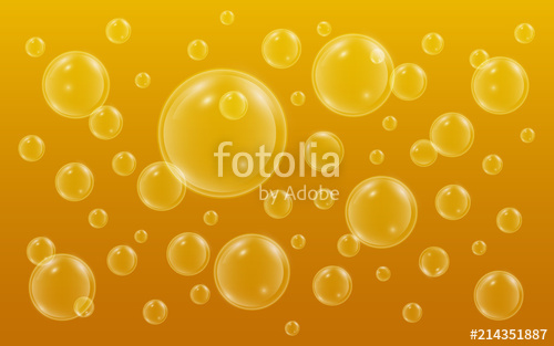 500x313 Realistic Bubbles With Reflection On Yellow Background. Beer