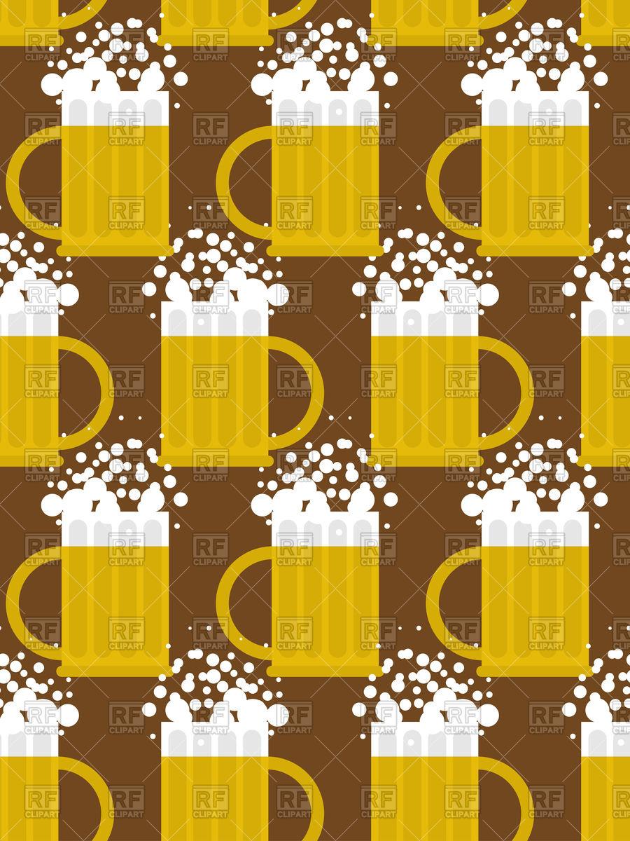 900x1200 Beer Mug Seamless Pattern, Mug With Beer Foam Vector Image